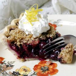 Blueberry Crumb Pie Recipe - Casey made this yesterday and it was sooo good!  He used blackberries, said it was super easy!