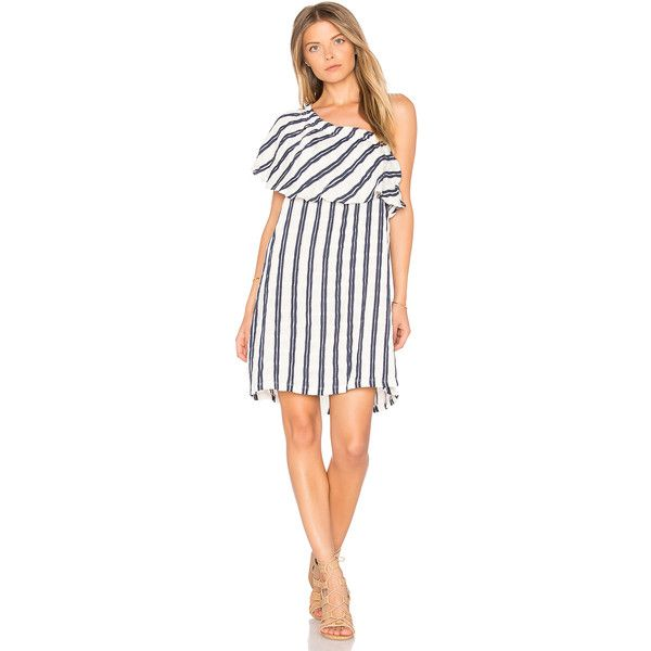 maven west Tahoe One Shoulder Dress (€51) found on Polyvore featuring women's fashion, dresses, one shoulder cocktail dress, embroidered dress, white one shoulder dress, drape dress and white cocktail dress