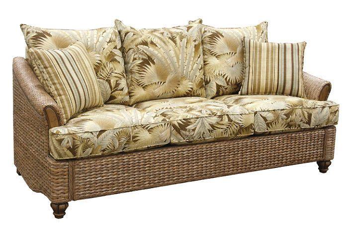 Plantation Indoor Wicker and Rattan Queen Sleeper Sofa #AmericanRattanWicker #Tropical