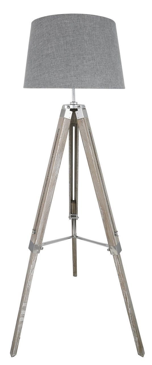 Lamp: Grey Wood Tripod Floor Lamp With Grey 17in Linen Empire Shade from The Great Appearance Through The Floor Lamp Shades