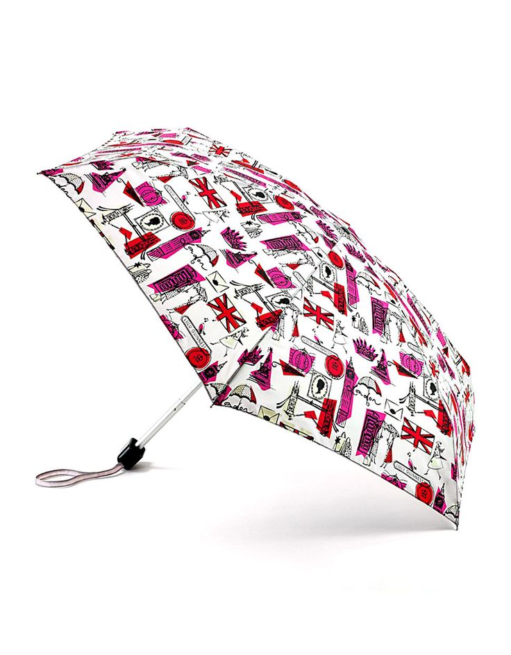 Fulton, Lulu Guinness Tiny2 Umbrella in London Print (Grey & Pink)