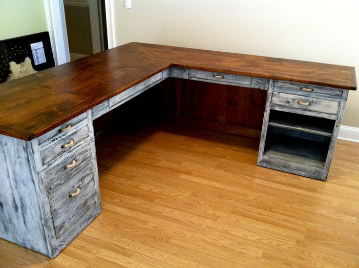 L-shaped desk from Furniture From The Barn. See more at furniturefromthebarn.com