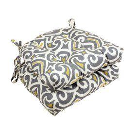 Pillow Perfect Damask Greystone Geometric Seat Pad For Universal 48408
