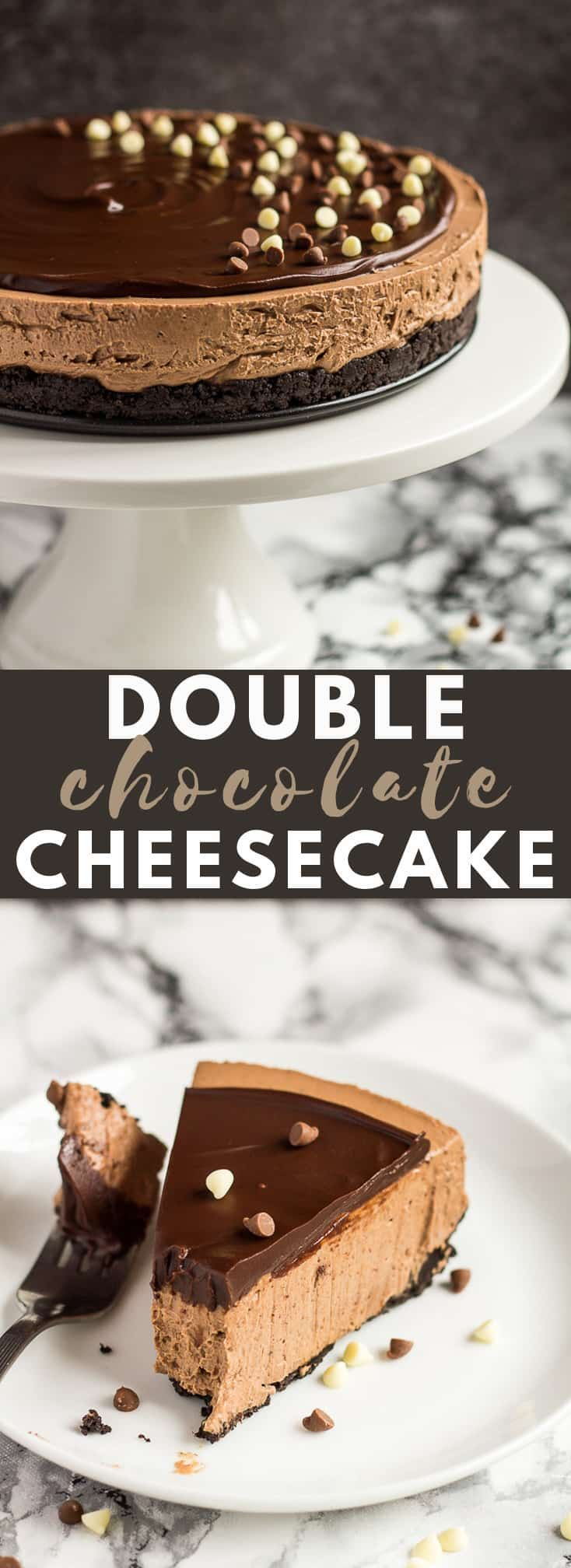 No-Bake Double Chocolate Cheesecake – Deliciously creamy NO-BAKE chocolate chee…