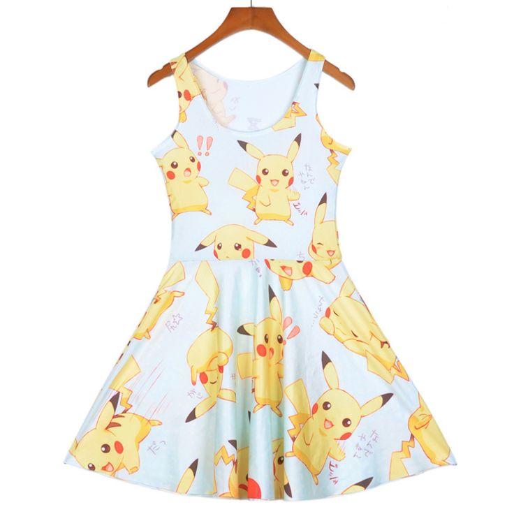 Women Pokemon Pikachu 3D Prints Reversible Sleeveless Skater Dress //Price: $20.34 & FREE Shipping //