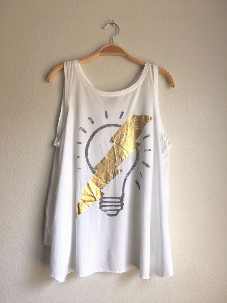JUNK FOOD Clothing Women's Light Bulb Lightning Open Back Tank Top Tee White M #JunkFood #CropTop #Casual