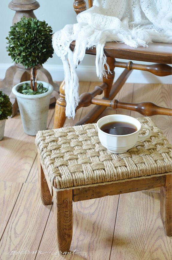 Add some texture to your space with this quick DIY footstool with woven jute.     www.andersonandgrant.com