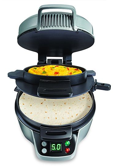 Hamilton Beach Breakfast Burrito Maker Maybe you don't eat breakfast burritos very often but that would change if you had this thing. It cooks your eggs & tortilla at the same time & has 'em ready in 5. It also makes omelets, stuffed pancakes, crepes, personal pizzas and more.