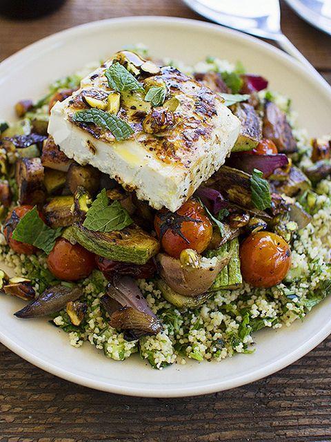 Grilled Feta and Roasted Vegetable Salad