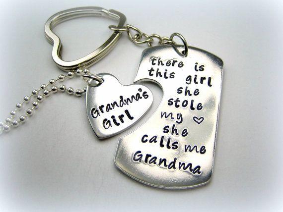 Personalized Handstamped Grandma Granddaughter Keychain