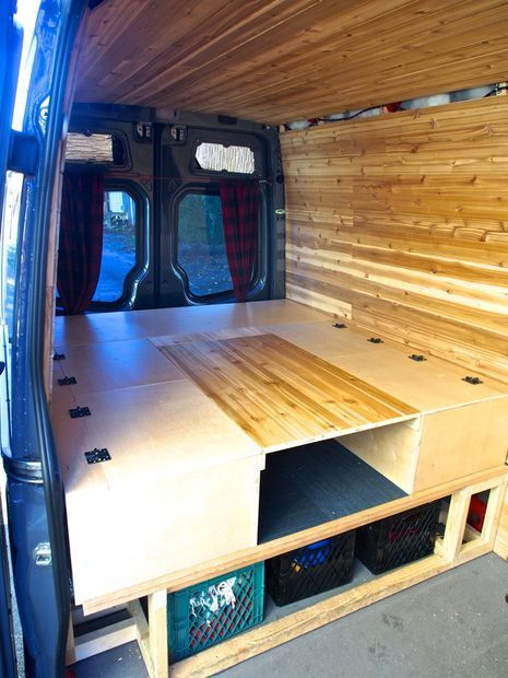 Storage options for the camper bed.