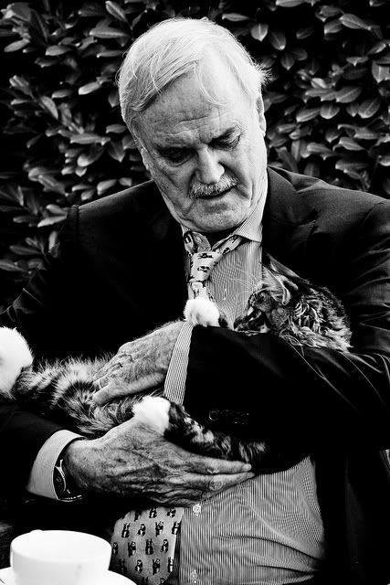 Luckiest cat in the world...and John Cleese who rather would stay home and play with his cats than attend celebrity functions-