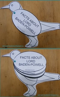 Baden-Powell facts Robin to help my Guides learn about BP.  PDF available at: owl-and-toadstool.blogspot.ca