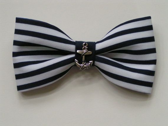 Nautical hair bow, Bow, hair bows, bows for hair,blue and white bow, anchor, anchor bow, bows bows. $6.99, via Etsy.