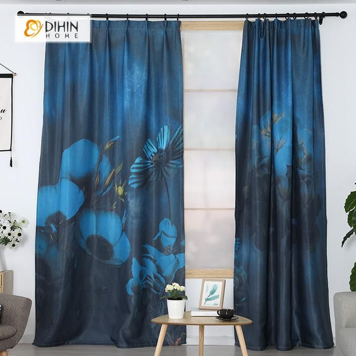 Dihin Home 3d Printed Blue Flowers Blackout Curtains Window