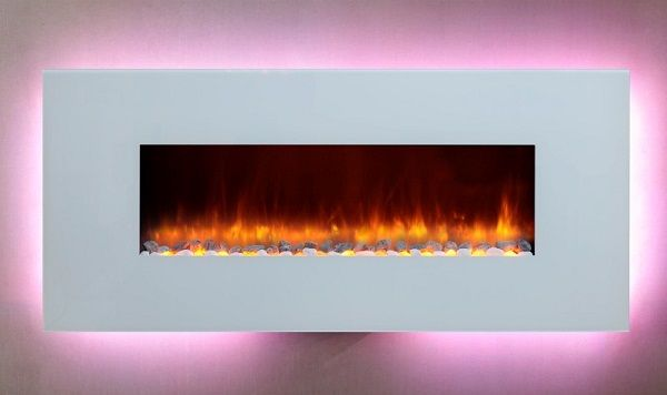 Dynasty EF69-WGR wall-mount electric fireplace with white glass surround; $1349 cdn.