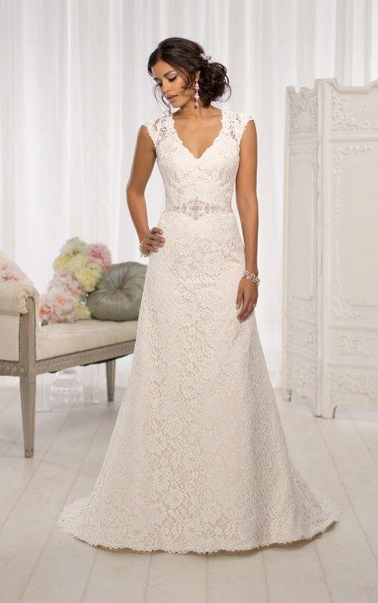 D1598 Cap Sleeve Wedding Dresses by Essense of Australia