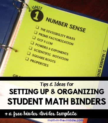 Organizing and setting up student math binders with divider tabs. Includes a free editable template to make your own binder dividers.