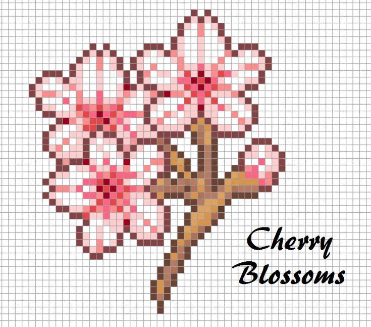 Cherry Blossoms Perler Bead Chart Pixel Art Design