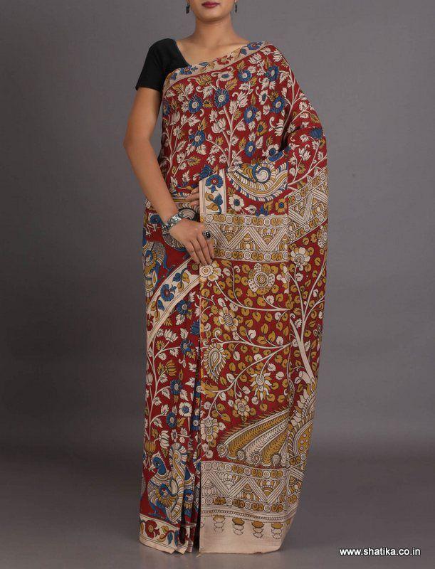 Shreya Color Bloom Naturally Dyed And Hand-Painted #KalamkariPureCottonSaree