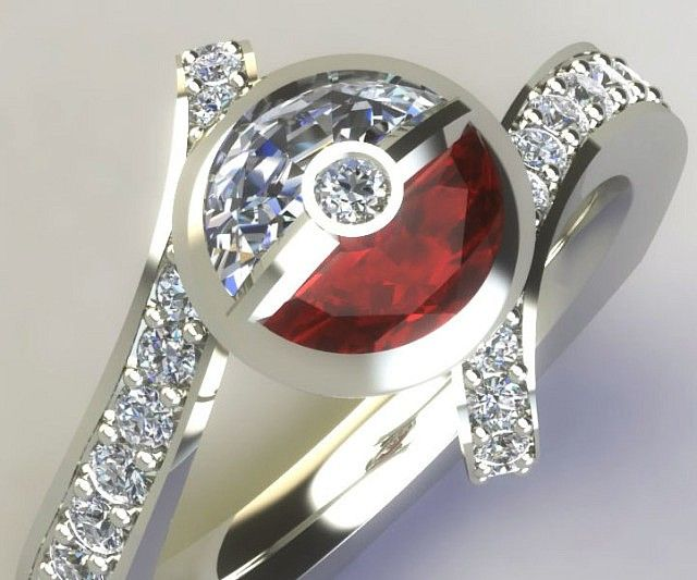 """Let that special someone know that """"I choose you"""" – by giving them the Pokemon style diamond engagement ring.This exquisite creation boasts a white gold band accented with small diamonds and topped off with a jewel Pokeball."""
