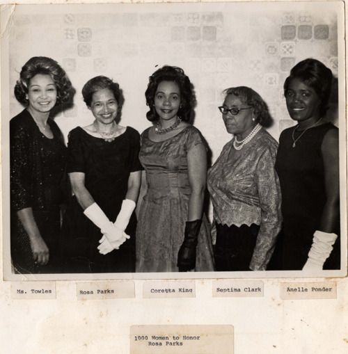 "Septima Poinsette Clark, the ""grandmother of the civil rights movement,"" with Coretta Scott King, Rosa Parks, Anelle Ponder, and Ms. Towles"