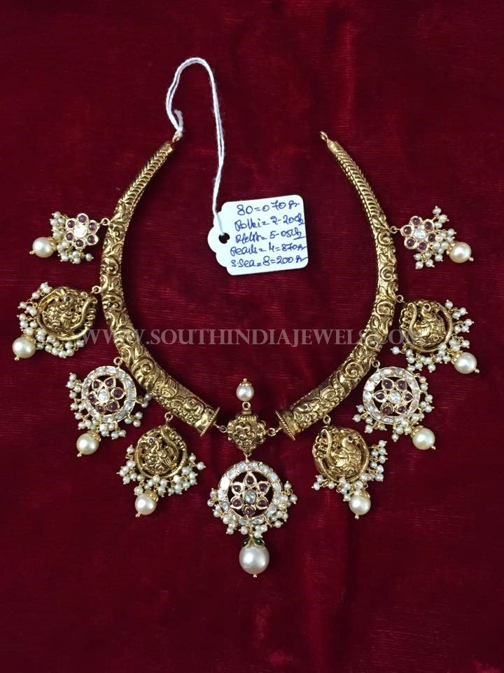 Gold Antique Polki Necklace Designs, South Indian Gold Polki Necklace Collections.