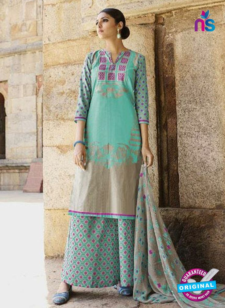 Omtex 1207 B Sea Green and Pink Lawn Cotton Plazzo Suit #omtexsalwarsuitsonline #designeromtexsalwarsuits