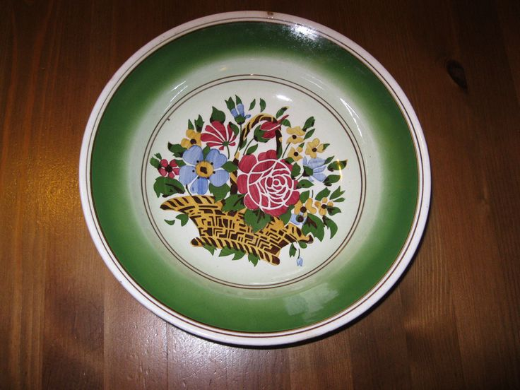 Antique hand painted Hungarian ceramic plate GRANIT from Transylvania . Available at www.greatblouses.com