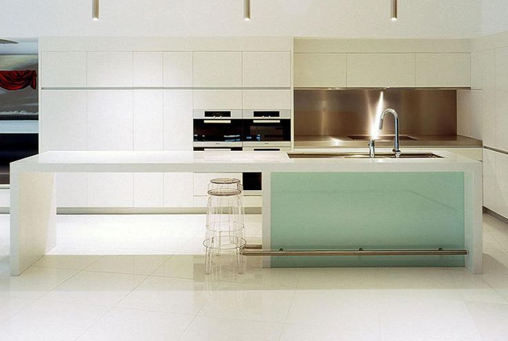 Glacier White benchtop and waterfall ends