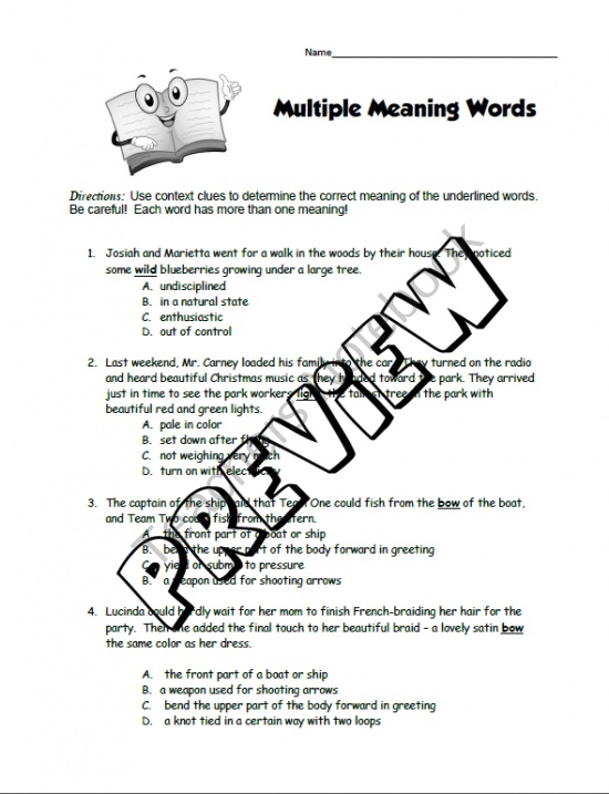 Multiple Meaning Words Worksheet product from Rosies ...
