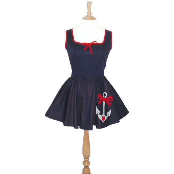 Hello Sailor Full Circle Mini Dress with Anchor by Dollydripp, £70.00