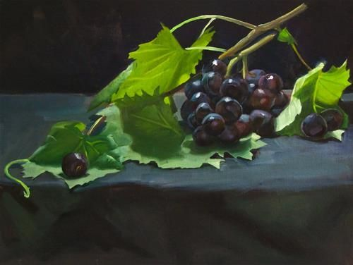 "Daily Paintworks - ""Grapes"" - Original Fine Art for Sale - © James Dewing Oil on canvas. Alla prima still life."