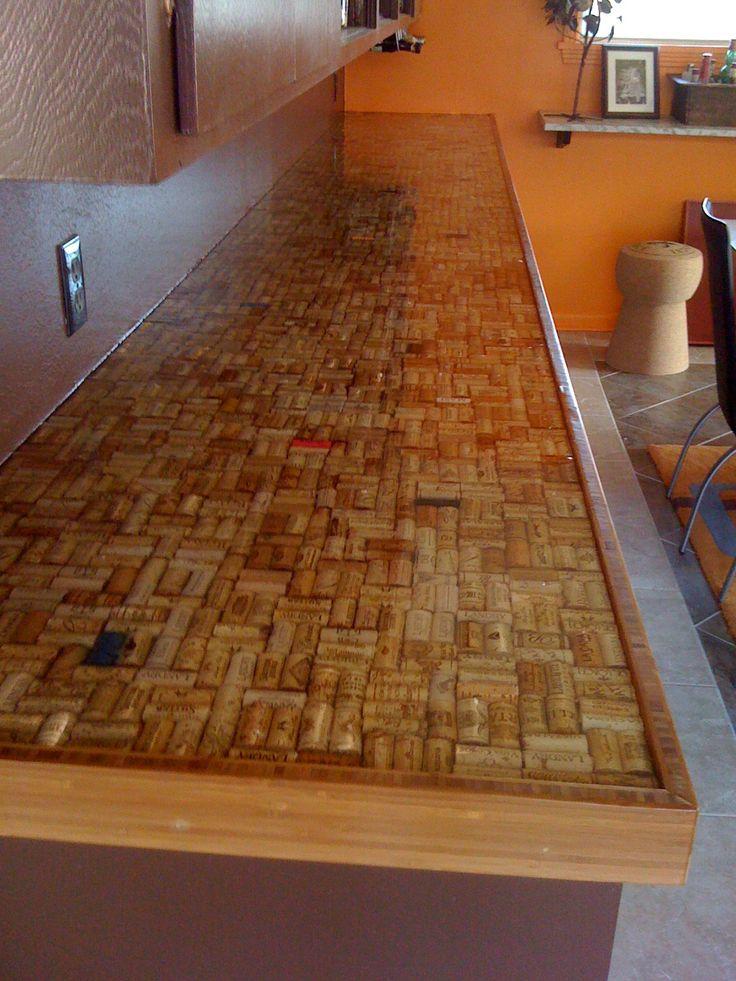 wine cork countertop...after sealing
