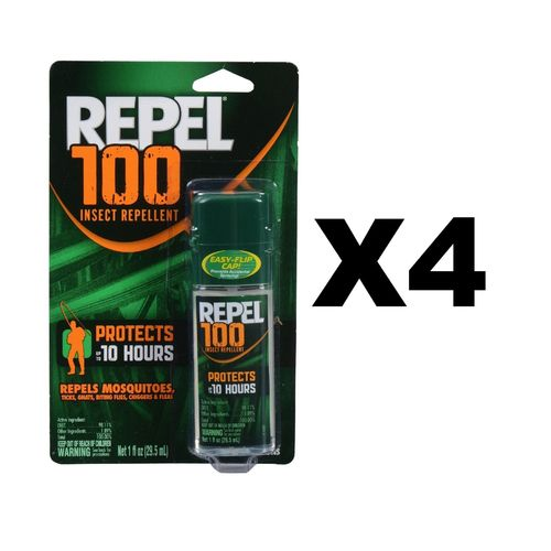 Repel 100 Insect Repellent Pump Spray 1oz Repels Mosquito Tick Chigger (4-Pack)