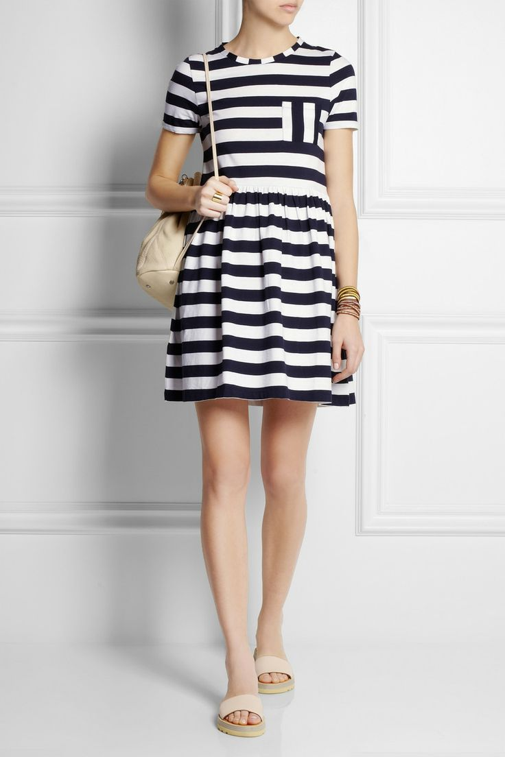 Striped organic cotton-jersey mini dress|NET-A-PORTER