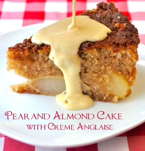 Pear and Almond Cake with Creme Anglaise - A wonderfully moist and nutty flavored cake with sweet pears baked right in and served with warm Creme Anglaise custard.: Desserts, Rocks Recipes, Almonds Cakes, Food Photography, Almonds Pears Cakes With Cream, Almond Cakes, Food Photos, Rivers Cottages, Creme Anglaise