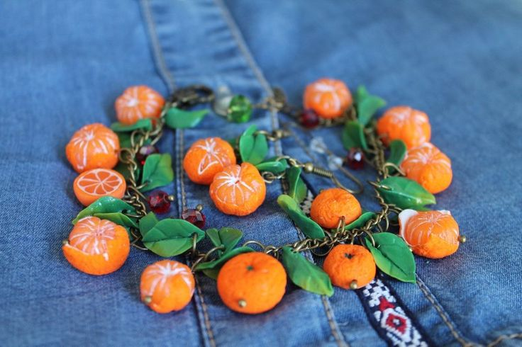 Bracelet & Earrings Jewelry Set / Orange Mandarin / gift  / Handmade #Handmade
