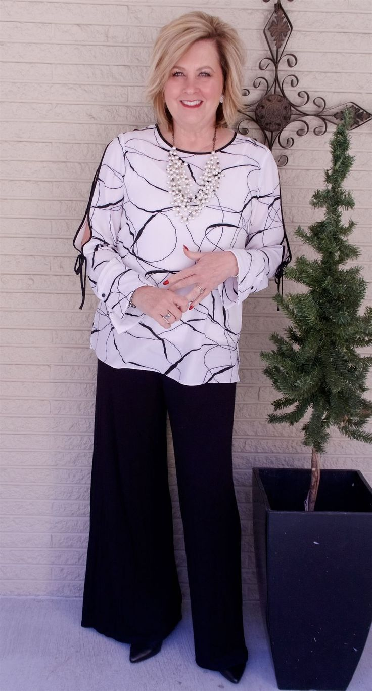 50 IS NOT OLD | WEARING CLASSIC BLACK AND WHITE | Split Sleeve | Statement Sleeve | Classic | Date Night | Palazzo Pants | Fashion over 40 for the everyday woman #FashionOver40