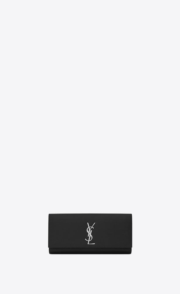 761970632ec SAINT LAURENT MONOGRAM KATE CLUTCH Woman kate clutch in black textured  leather a_V4