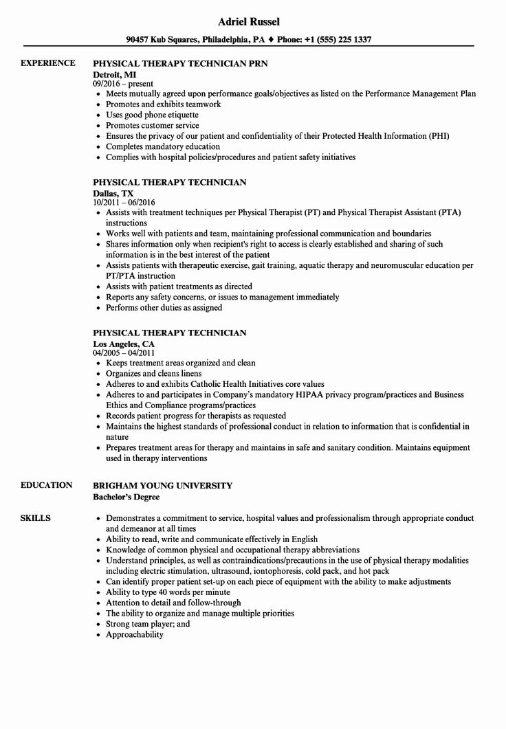 23 Physical therapist Resume Examples in 2020 (With images