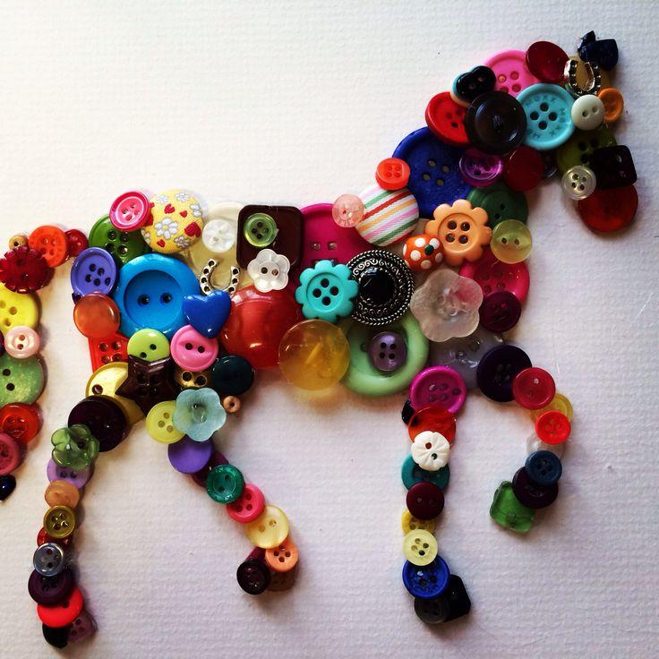 Horse button art colourful
