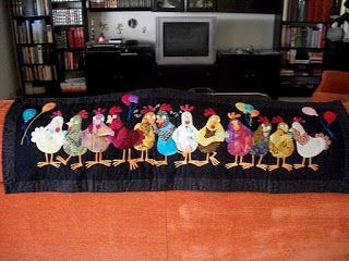Free Hen Chicken Applique Pattern - preview is small but pattern pieces are huge