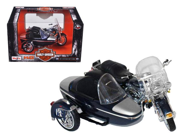 2001 Harley Davidson FLHRC Road King Classic with Side Car Black Motorcycle Model 1/18 Diecast Model by Maisto - Brand new 1:18 scale diecast model 2001 Harley Davidson FLHRC Road King Classic with Side Car Black Motorcycle Model by Maisto. Brand new box. Wheels roll and steer. Made of die cast metal with some plastic parts. Approximate Dimensions: L-5.5, H-2.5, W-3.5 Inches. Please note that manufacturer may change packing box at anytime. Product will stay exactly the same.-Weight: 1…