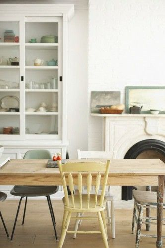 14 best images about interiores en blanco on pinterest for Salle a manger table chaise