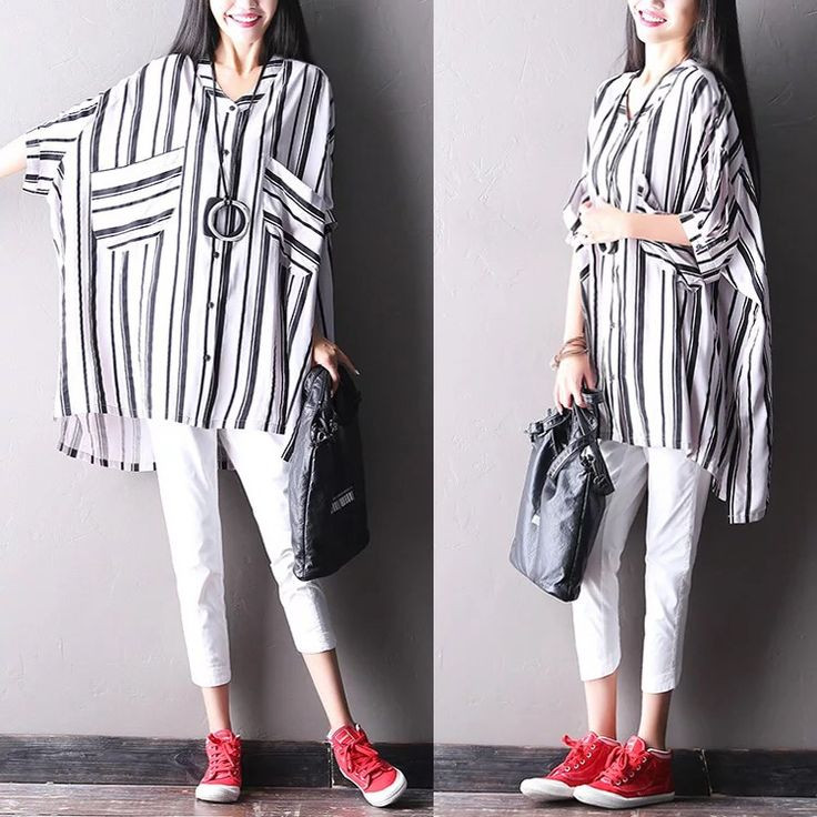 Stripe bat sleeve women shirt