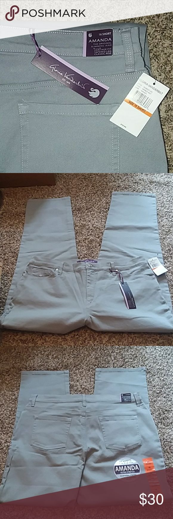 """NWT 16 Short Gloria Vanderbilt Amanda Jeans NWT 16 Short Amanda jeans by Gloria Vanderbilt. The color is a light gray, called """"Marble Mist. """"  Ultra stretch, slimming jeans with a heritage fit, tapered leg, and a classic (high waist) rise. 5 pockets, belt loops, button and zipper closure.   98% Cotton, 2% Spandex.  Measurements: 17.5"""" flat waist, 12"""" rise, 29"""" inseam.  Offers and questions are encouraged! Gloria Vanderbilt Jeans"""
