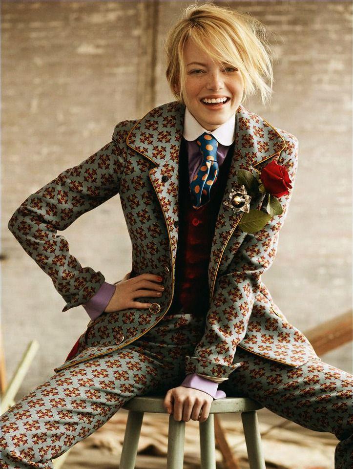 Emma Stone...a suit that says...I'm unique. // #MyTailorIsFree #menstyle…                                                                                                                                                                                 Plus
