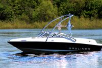 Bayliner with a Big Air Torrent Tower // boat tower // universal wakeboard tower // wakeboard towers for sale // boat wakeboard tower // boat towers for sale // cheap wakeboard tower // folding wakeboard tower // collapsible wakeboard tower // aluminum wakeboard tower //