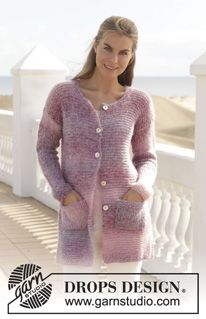 """Knitted DROPS jacket in garter st in """"Delight"""" and """"Vivaldi"""" or """"Alpaca Silk"""". Size: S - XXXL. ~ DROPS Design"""